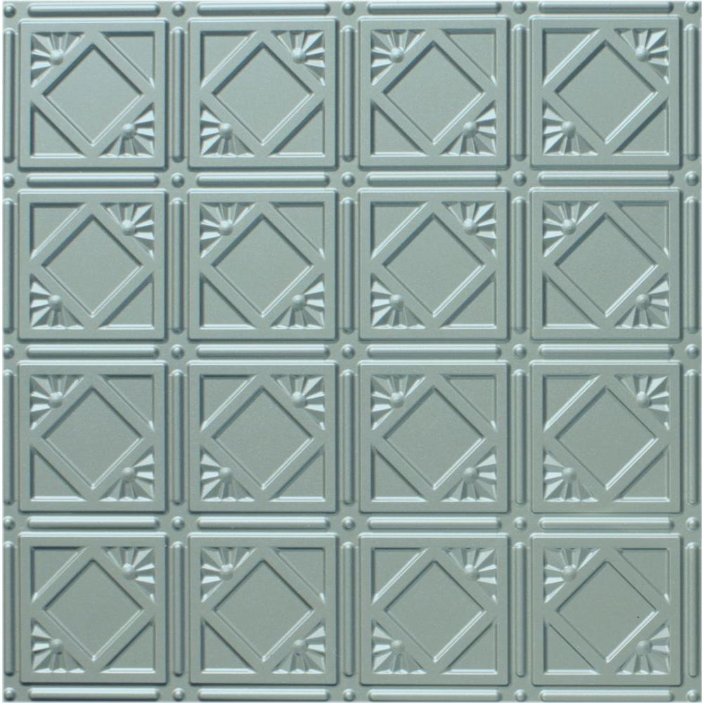Dimensions 2 ft. x 2 ft. Nickel Lay-in Tin Ceiling Tile for T-Grid Systems