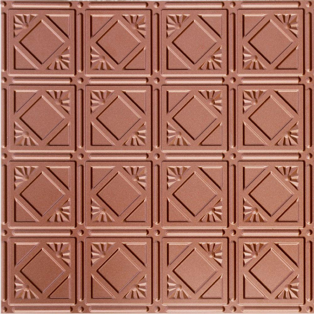Dimensions 2 ft. x 2 ft. Copper Lay-in Ceiling Tin Tile for T-Grid Systems
