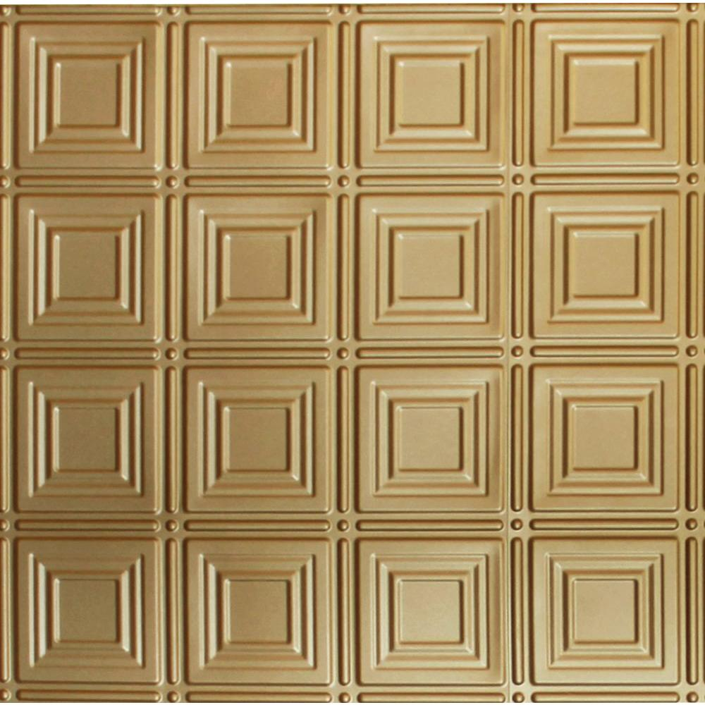 Dimensions 2 ft. x 2 ft. Brass Lay-in Tin Ceiling Tile for T-Grid Systems