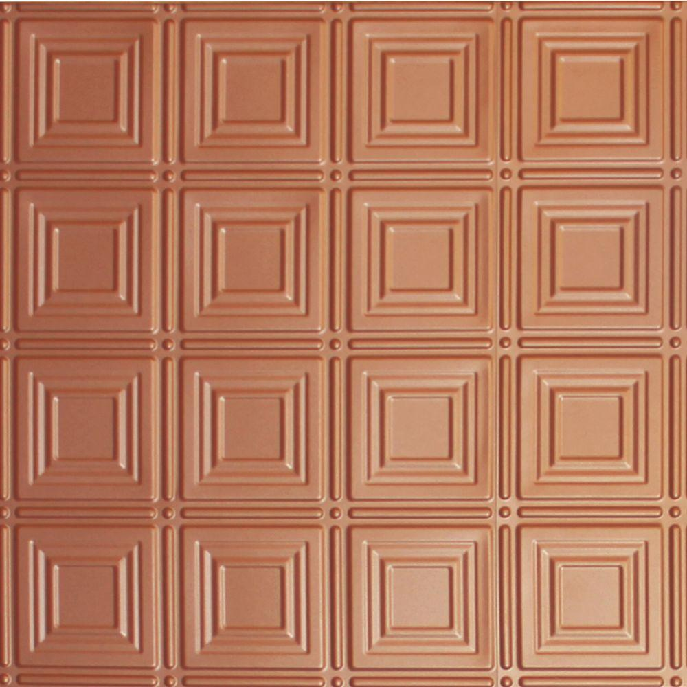 Dimensions 2 ft. x 2 ft. Copper Lay-in Tin Ceiling Tile for T-Grid Systems
