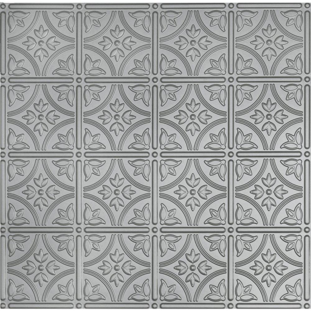 Dimensions 2 ft. x 2 ft. Nickel Ceiling Tile for Refacing in T-Grid Systems