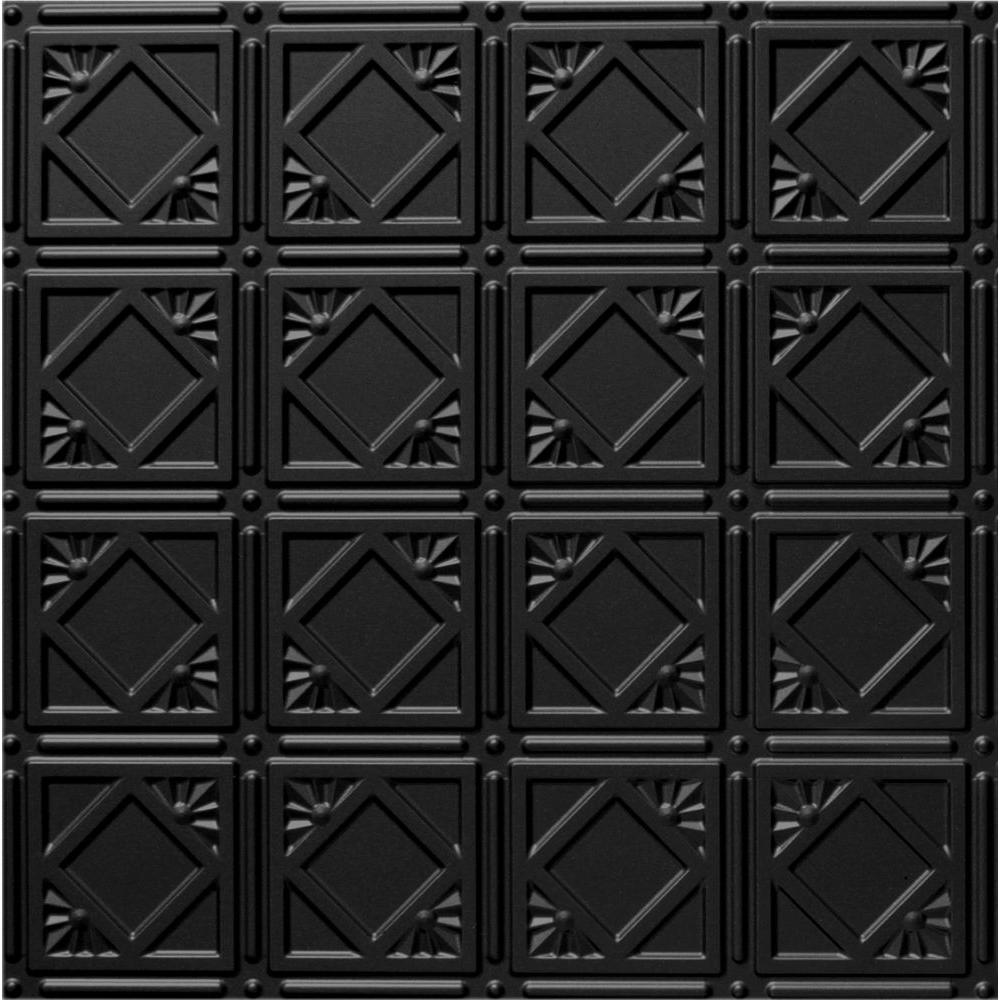 Dimensions 2 ft. x 2 ft. Matte Black Tin Ceiling Tile for Refacing in T-Grid Systems