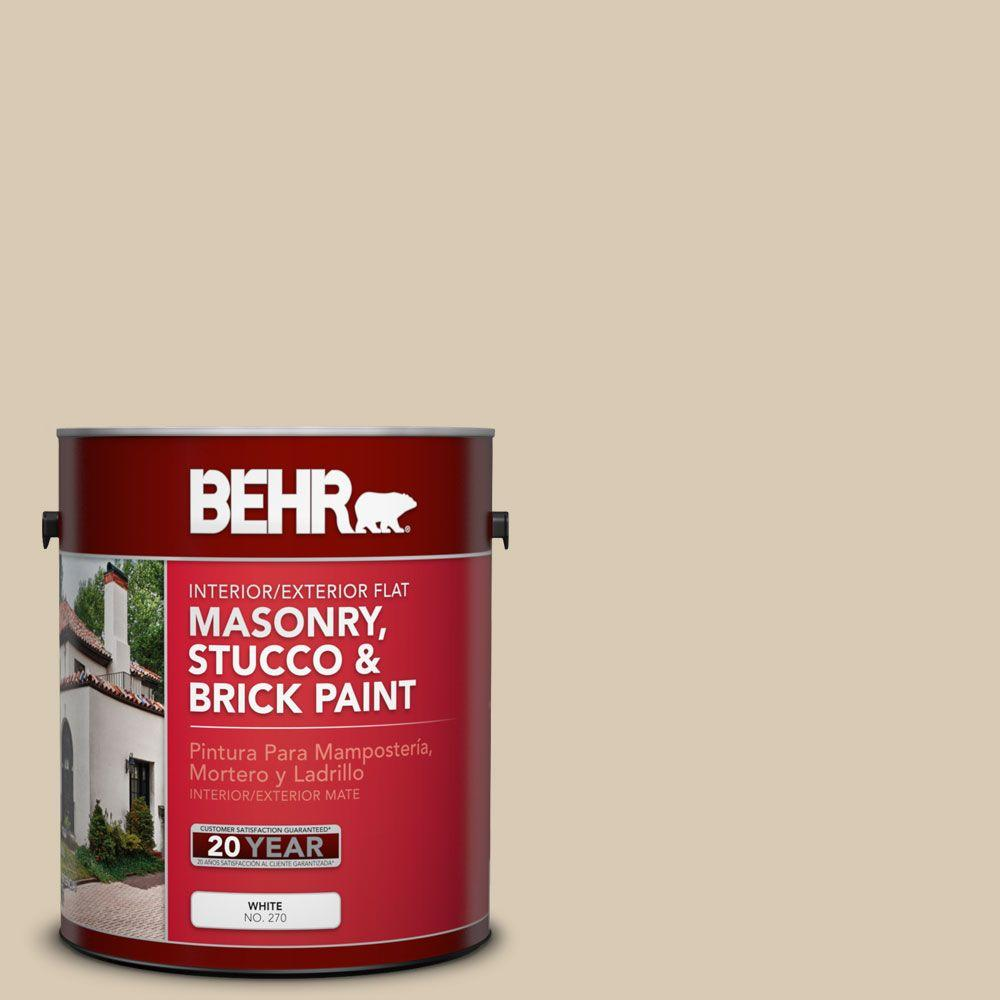 1 gal. #MS-41 Sandstone Beige Flat Interior/Exterior Masonry, Stucco and Brick Paint