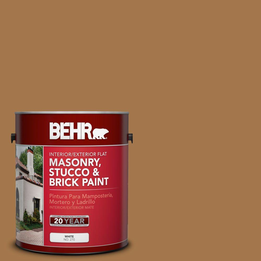 1 gal. #MS-38 Honey Amber Flat Interior/Exterior Masonry, Stucco and Brick Paint
