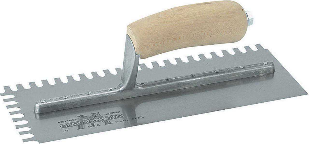 Marshalltown 704S Notched Trowel, 4-1/2 in W x 11 in L Steel Blade Wood Handle